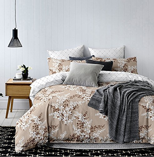 DecoKing Premium 91876 135x200 cm mit 1 Kissenbezug 80x80 beige Blumenmuster Blumen Bettbezüge Microfaser Cappuccino braun Schoko weiß Hypnosis Calluna Bettwäsche, 135 x 200 cm (Blumenmuster Bettwäsche)