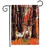 Violetpos Garten Flaggen Doppelseitiger Druck Home Dekoration Polyester Garden Flag Rote Blätter Großer Baum Hirsch Elch Blumen 31x46cm