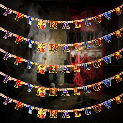 Moolila Halloween-Wimpelkette 180-280 cm Luftballons Flaggen Schlafzimmer Klassenzimmer Hängende Dekoration, Style -2, 280 cm