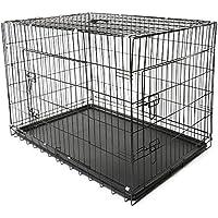 TRESKO® Box per il trasporto di cani, gatti, Casse, Gabbia in metallo richiudibile, 2 porte Trasportino Pieghevole (XL (105cm x 71cm x 78cm)