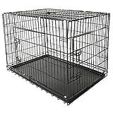 TRESKO® Cage de transport pliable pour Chiens 105x71x78cm, Chats, Chiots, Chatons et Animaux domestique, en métal, Cage chien, pliable, Caisse de transport pour la voiture, 2 portes