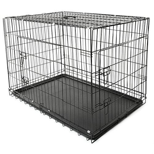 TRESKO® Jaula de transporte plegable para perros (XXL 121 x 76 x 82 cm), cachorros y otro tipo de mascotas, jaula de metal con bandeja extraíble resistente al agua, con dos puertas
