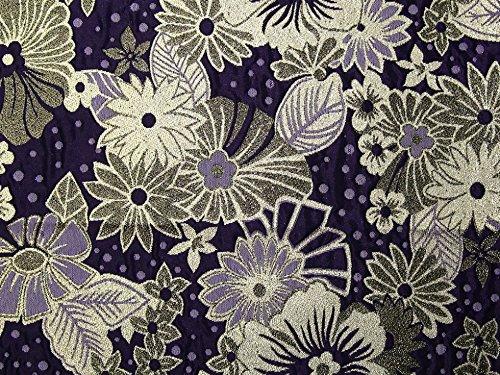 Blumenmuster Metallic Brokat Kleid Stoff lila-Meterware