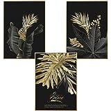 Martin Kench 3-częściowy zestaw designerskich plakatów, obrazy ścienne, las, złote liście, liść palmy, bez ramy, obraz na ści