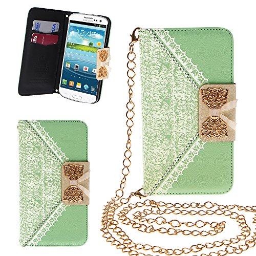 Xtra-Funky Esclusivo PU cuoio del modello del merletto e fiocco dorato di vibrazione di caso della copertura della borsa con la carta di credito e denaro slot e staccabile Catenina d'oro per Samsung Galaxy S3 Mini (i8190) - Rosa