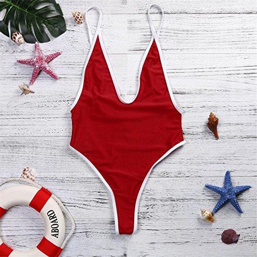 Un Pezzo Di Donne V Neck Thong Bikini Monokini Costume Da Bagno Costumi Da Mare Balneazione Monokini Costume Da Beachwear Set Swimwear Spiaggia Estate Pezzi Fascia Vita Alta Rosso