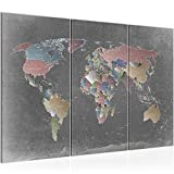 Bilder Weltkarte World Map Wandbild 120 x 80 cm Vlies - Leinwand Bild XXL Format Wandbilder Wohnzimmer Wohnung Deko Kunstdrucke Bunt 3 Teilig - MADE IN GERMANY - Fertig zum Aufhängen 107631a