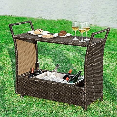 Promotion -33%! SoBuy® FKW48-BR Bar mobile Bar Chariot Desserte de jardin roulant avec bassine à glaçons pour boissons