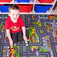 "Children's Play Village Mat Town City Car Roads Rug 80cm x 120cm (2'7"" x 3'11"")"