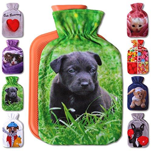 Wärmflaschenbezug 1L, mit und ohne Wärmflasche 1 Liter, Auswahl: Labrador Welpe, mit Wärmflasche