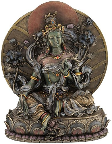 """CRAFTSTRIBE 9.5"""" Grüne Tara - Sammler Buddhismus Statue Figur Buddha Skulptur"""