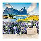 YUANLINGWEI Benutzerdefinierte Jede Größe 3D Wandbild Moderne Mode Alpine Fließende Wasser Lavendel Tapeten,170cm (H) X 250cm (W)