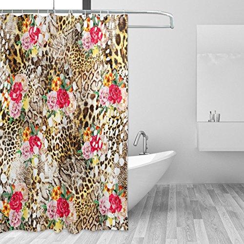 Duschvorhänge Schimmelresistent Wasserdicht Form Leopard Thema waschbar Bad Vorhang mit Robuste Haken für Badezimmer Zubehör 167,6x 182,9cm (168cm x 183cm)