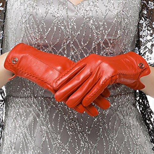 nappaglo women's classic véritable nappa des gants en cuir pur cachemire gants de simples garnitures (écran ou l'hiver chaud sans écran) red (Non-tactile)