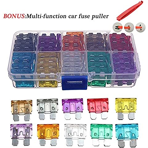 100 Pcs Assorted Auto Car Trunk Standard Blade Fuse 2,3,5,7.5,10,15,20,25,30 35 Amp Car Boat Truck SUV Automotive Replacement Fuses BONUS Multi-function Car Fuse Puller