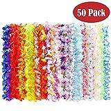 BangShou Flores Hawaianas Guirnalda Hawaiana Collar Pulsera Coloridos Reutilizables de Fuentes de La Decoración para Fiesta Hawaiana (50PCS)
