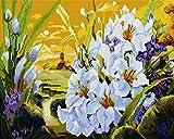 Diamond Vollbedeckung mit Holzrahmen Painting Set Bild 40 x 50 Diamant Malerei Stickerei Handarbeit Basteln Mosaik Steine Blumen Korb Haus am Bach (GJ915)