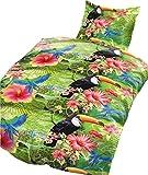 4 tlg. Bettwäsche 135 x 200 cm in Grün/Weiß aus Baumwolle (Premiumdruck)