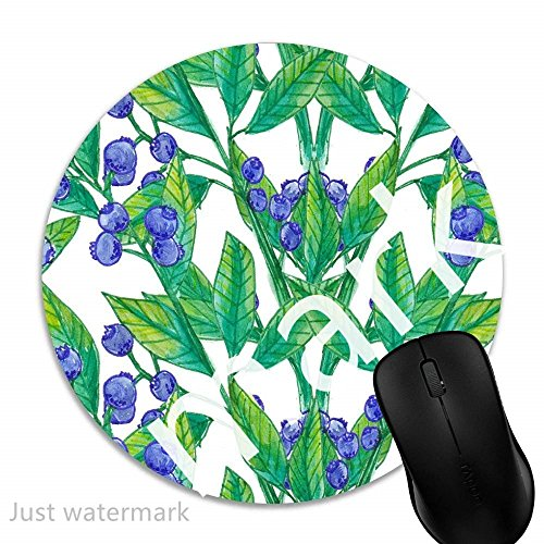 Maus-Pad Aquarell botanische Beeren,7 inch rund Mouse-Pad mit rutschfester Unterlage Standard 1V98