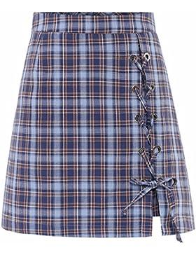 Cuadrícula QPSSP-cintura alta una falda larga falda de Damas, la parte superior del cuerpo