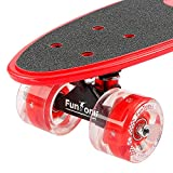 FunTomia Mini-Board Cruiser Skateboard mit 70mm Big Wheel Rollen inkl. ABEC-11 MACH1® Kugellager (Rot LED) -