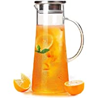 Aeternum Glass Water Jug with Lid Glass Pitcher Hot Water Jug Milk Carafe Glass Water Jug for Dining Table 1300 ml, Pack…