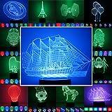 3D Lampe 3D Leuchte 3D LED 3D Stimmungslicht Leuchte mit Farbwechsel - Auswahl aus 81 verschiedenen Motiven, hier Segelschiff ca.16x19cm inkl.Sockel - 3D Illusion Dekolicht mit USB Anschluß