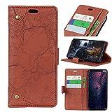 FugouSell Nokia 3.1 Plus Leder Hülle, Premium PU Leder etui Schutzhülle Tasche mit Kippständer, Slim Flip Case Cover für Nokia 3.1 Plus (Braun)