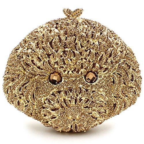 Santimon Clutch Delle Donne 3D Carina Cuccioli Barboncino Bello Diamante Cristallo Borsa Borse Da Festa di Nozze Sera Con Tracolla Amovibile e Pacco Regalo 5 Colori oro01