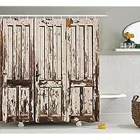 Resistente al agua antiguo de madera rústico cortina de ducha, fotografía de envejecido madera de