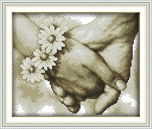 YEESAM ART Neu Kreuzstich Stickpackung - Hand und Hand Liebe für immer 14 CT 27×21 cm DIY Stickerei Set Weiß Segeltuch - Kreuz Nähen Handarbeit Weihnachten Geschenke Cross Stitch (Tree Topper Wars Christmas Star)