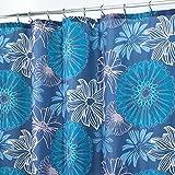 mDesign Duschvorhang Anti-Schimmel - Dusch- & Badewannenvorhang mit Blumen-Motiv - Duschvorhang wasserabweisend - 12 verstärkte Löcher für einfache Aufhängung - blau