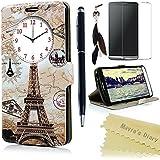 LG G3 Funda Libro de PU Leather Cuero Ventana View- Mavis's Diary Funda para móvil Carcasa Con Flip case cover,Cierre Magnético,Función de Soporte,Billetera con Tapa para Tarjetas-Color de Torre Eiffel