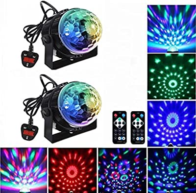 Emwel Sound Activated Mini USB Rechargeable Car Disco Dj Lights Strobe Light Mirror Magic Rotating Ball Glitter Stage Show Lights & Magnet Rubber Film for Camp Home Party Wedding Christmas Outdoor from Emwel