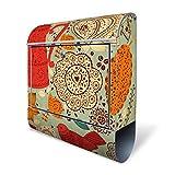 BANJADO Design Briefkasten mit Zeitungsfach, 2 Schlüssel, A4 Einwurf, silber pulverbeschichtet, mit Motiv Indischer Kaffee