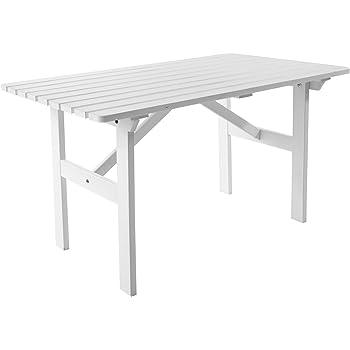 8c7b24a69953af Ambient home Table de jardin terrasse HANKO Blanc 120 x 70 x 69 cm 90065