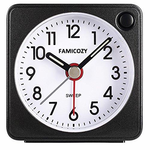 Famicozy Mini Size Alarm Clock, Quiet Non Ticking Travel Alarm Clock with  Snooze and Nightlight,Gradually Increasing in Volume,Lightweight Analog