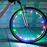 Rokoo 1 stück fahrrad rad led-leuchten auto ultra helle wasserdichte bunte speichen licht string radfahren reifen zubehör