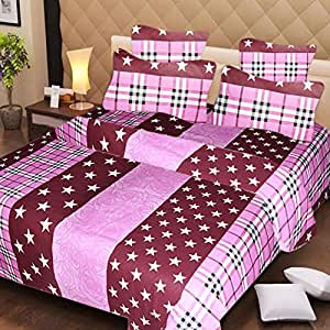 IWS Designer Cotton Printed Double Bedsheets with 2 Pillow Covers