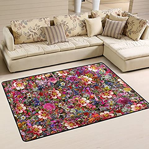COOSUN Psychedelic Flowers Area Rug Carpet Non-Slip Floor Mat Doormats for Living Room Bedroom 36 x 24 inches