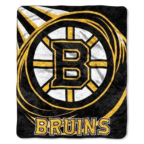 Northwest NHL Boston Bruins 50-inch-by-60-inch Sherpa auf Sherpa Überwurf Decke Puck Design