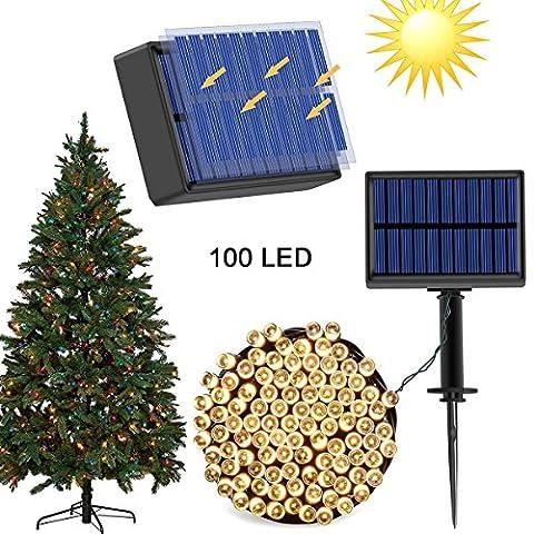 Solar draußen String Lichter (8 Modi 1200mAh) mit USB Port Dual Ladefunktionen 100 LED 40 ft Wasserdichte dekorative Garten Lichter für Parteien, Weihnachten Solar Seil Lichter