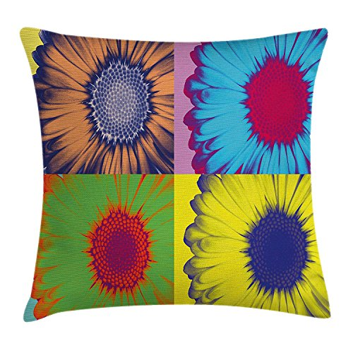 Modern Art Home Decor Throw Pillow Cushion Cover, Pop Art Inspired Colorful Kitschy Daisy Flower Hard-Edged Western Design, Decorative Square Accent Pillow Case, 18 X 18 inches, Multi