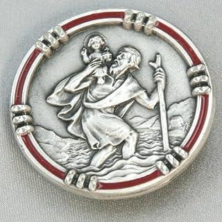 Autoplaketten Christopherus Talisman Rand rot 2,5 cm