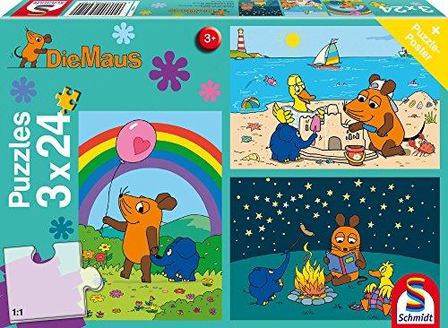 Schmidt Spiele Mouse TV Puzzle 56212, blau, Gute Freunde, 3x24 Teile (Tv-spiele)
