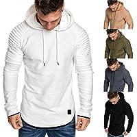 SANFASHION Mens Hoodie Long Sleeve Sweatshirt Sports Pullover Autumn Winter Spring Lightweight Casual Slim Fit Classic…