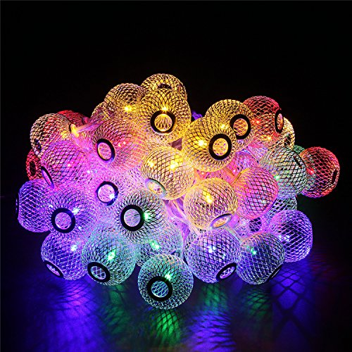 D 8 Modi Mesh Ball String Lights LED Weihnachtsbeleuchtung Lichterketten, goldene Laterne für Party, Hochzeit, Urlaub, Fenster, Home Dekoration Beleuchtung (Große Laterne-Farbe) (Urlaub Tür Dekorationen)