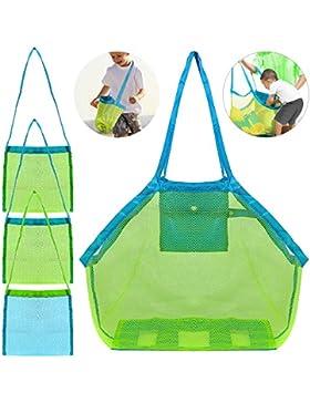 4 Satz Strand-Ineinander greifen-Einkaufstasche, FineGood Sand Spielzeug Shell Wiederverwendbare Faltbare Leichte...