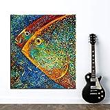 KKJJ Modern leinwand wandkunstdruck Bilder für zu Hause Dekoration - kreativ Farbiger Fisch Ölgemälde auf Leinwand Wandkunst Bilder für Dein Wohnzimmer,Noframe,40cm*60cm