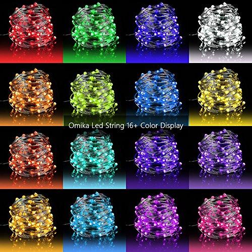 10M 100er Led RGB Kupferdraht Lichterkette,Wasserdicht Lichterketten Aussen,Fairy Lights mit Fernbedienung,16 Farbe,4 Farbewechsel Modi,Batteriebetrieben String Lights,Deko für Weihnachten/Hochzeit